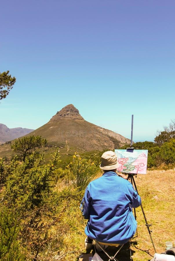 Cape Town - 2011 : Une montagne de Tableau de peinture d'artiste photos libres de droits
