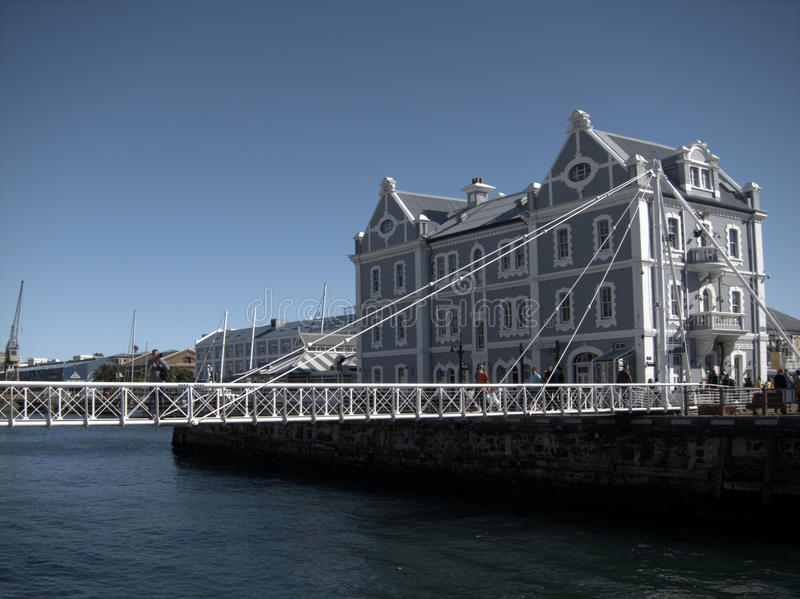 Cape Town waterfront. Old warehouse building and bridge on Cape Town waterfront, South Africa royalty free stock photography