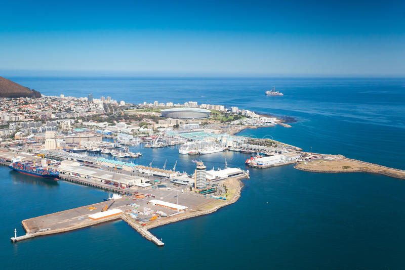Cape Town waterfront. Aerial view of Cape Town waterfront and harbour stock photos