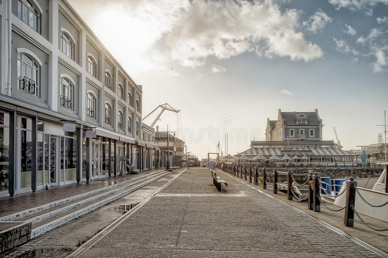 Cape town waterfront street with sunrise. In africa royalty free stock image
