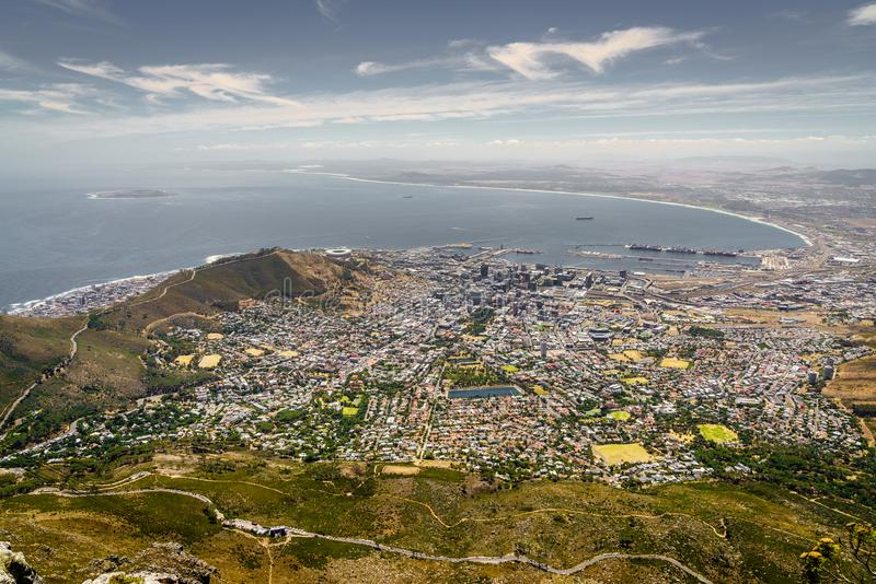 Cape Town, Zuid-Afrika, luchtmening royalty-vrije stock fotografie