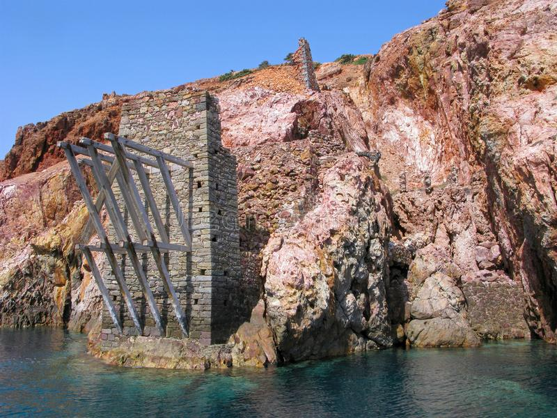 Cape Vani, old destroied wharf, Milos island, Greece royalty free stock images