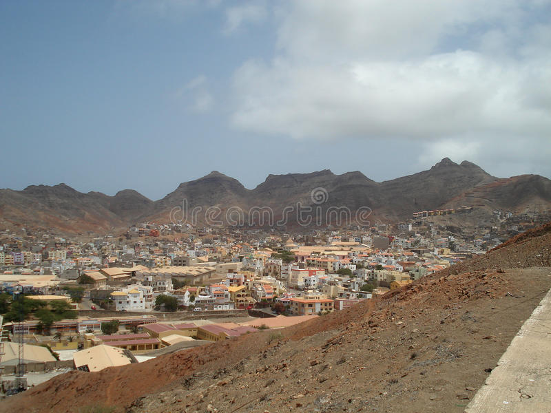 Cape Verde. Town under mountains in Cape Verde stock photo