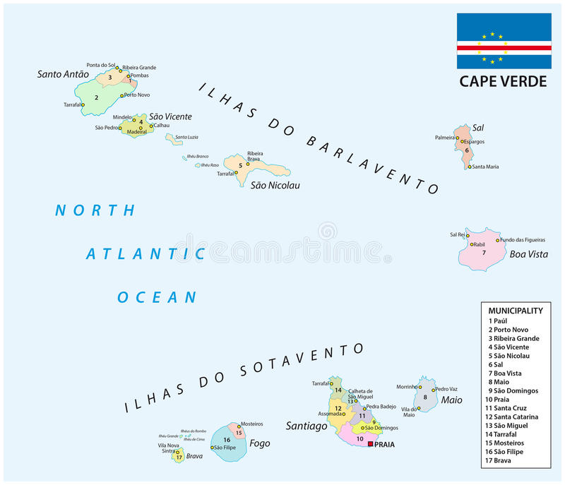 Cape Verde Administrative Map With Flag Stock Vector Illustration