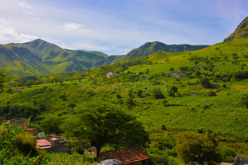 Cape Verde Agriculture Landscape, Volcanic Green Fertile Mountain Peaks. Sierra Malagueta fertile mountain peaks and two small house farms on the slopes. Cape stock photos