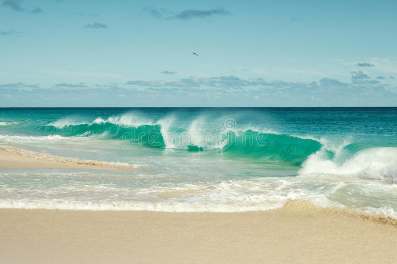 Cape Verde Beach. Ocean waves breaking at Cape Verde sandy beach in summer on a sunny day royalty free stock images