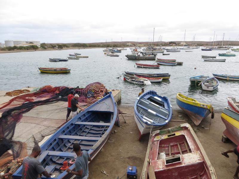 Fishermen boats in Cape Verde royalty free stock photography