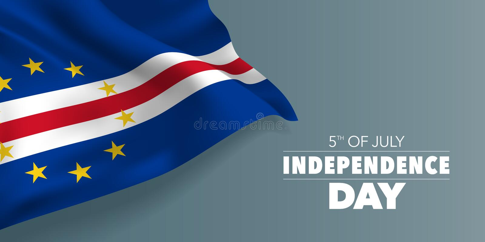 Cape Verde happy independence day greeting card, banner with template text vector illustration. Cabo Verde memorial holiday 5th of July design element with vector illustration
