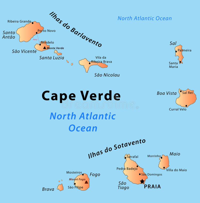 Cape Verde map. Illustration of a detailed political map of Cape Verde, with its islands, mountains and volcanos