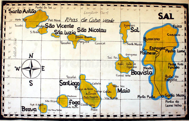 Cape Verde MAP. Painted map with the islands of the archipelago of Cape Verde royalty free stock photo