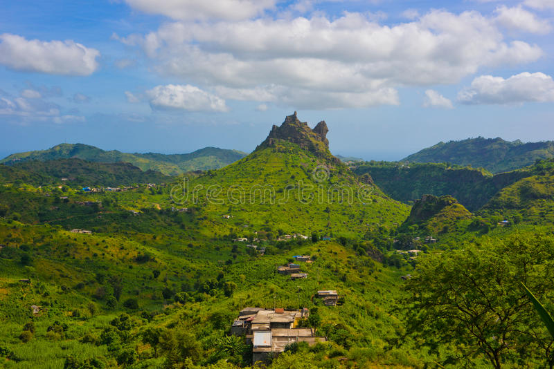Cape Verde Volcanic and Fertile Landscape, Rural Houses, Santiago Island royalty free stock photo