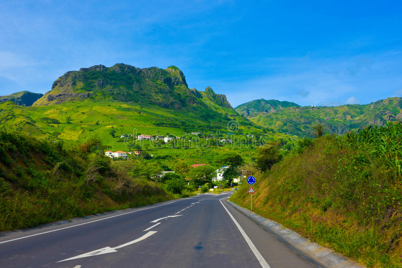 Cape Verde Volcanic Fertile Landscape, Tar Road to Small Rural Town, Fertile Slopes, Volcano Crater royalty free stock image