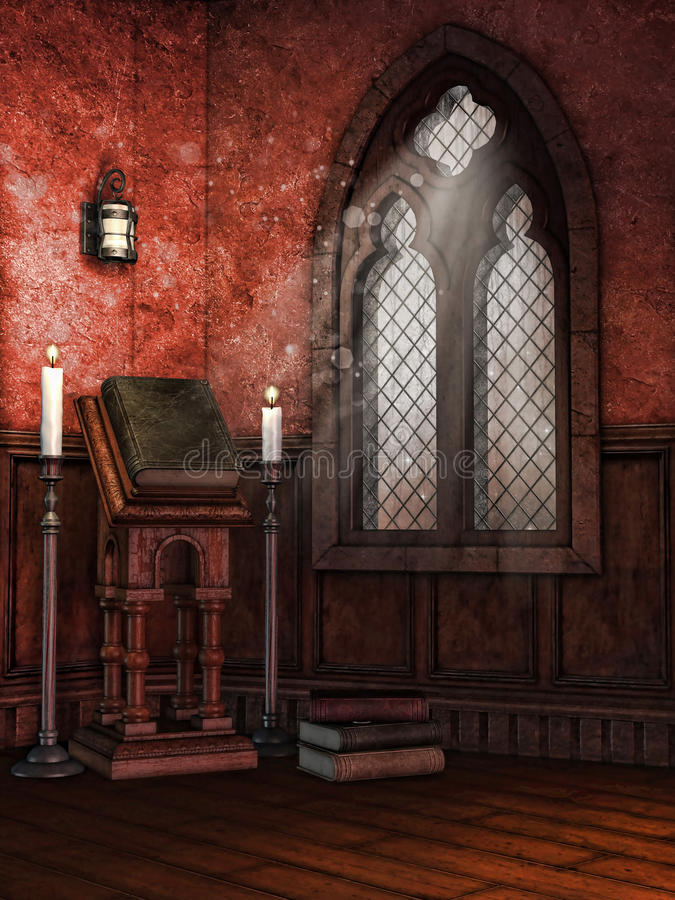 Capela com livros e velas ilustração royalty free