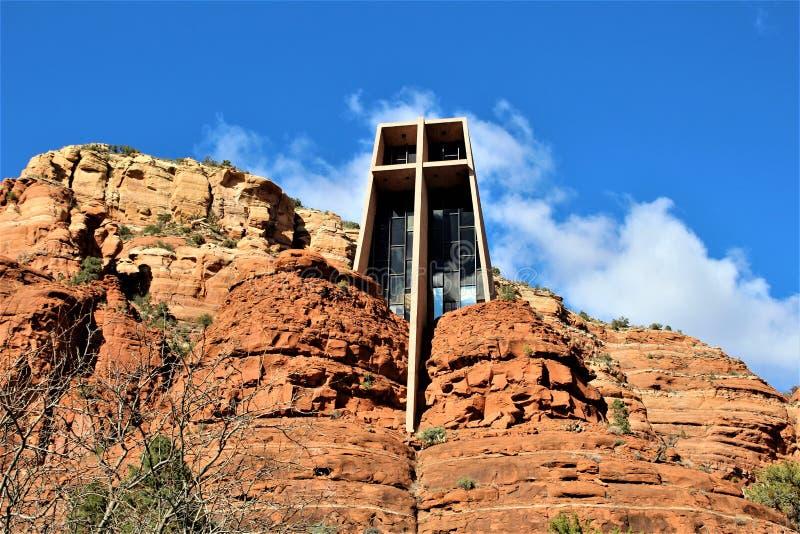 Capela da cruz santamente, Sedona, o Arizona, Estados Unidos fotos de stock