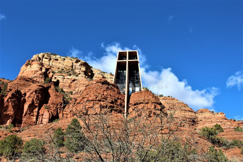 Capela da cruz santamente, Sedona, o Arizona, Estados Unidos imagem de stock