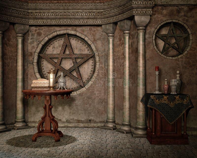 Capela da fantasia com urns ilustração royalty free
