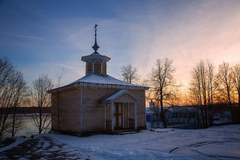 Capela da flora e do Lavra na propriedade do Chistovs anterior em Myshkin da região de Yaroslavl foto de stock royalty free