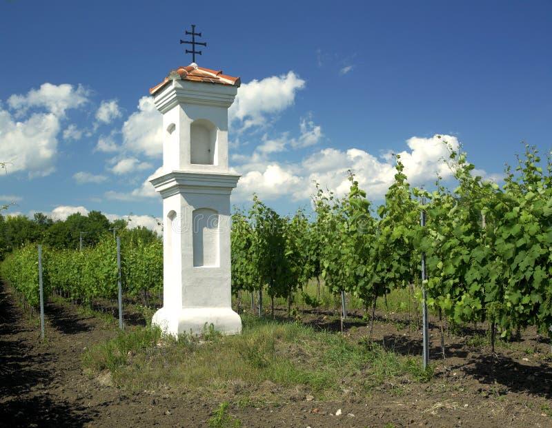 Capela da vila com o wineyard perto de Perna foto de stock