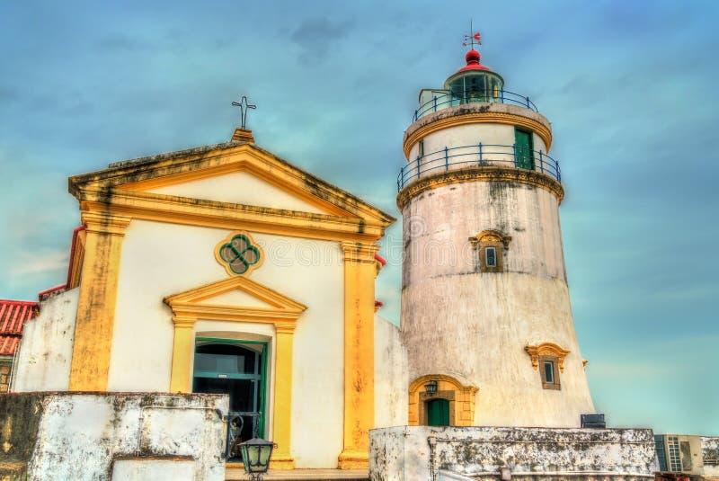 Capela de诺萨Senhora东望洋堡垒的da东望洋和松山灯塔在澳门,中国 免版税库存照片