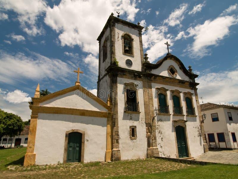 Capela de Santa Rita, Paraty, Brésil. images libres de droits