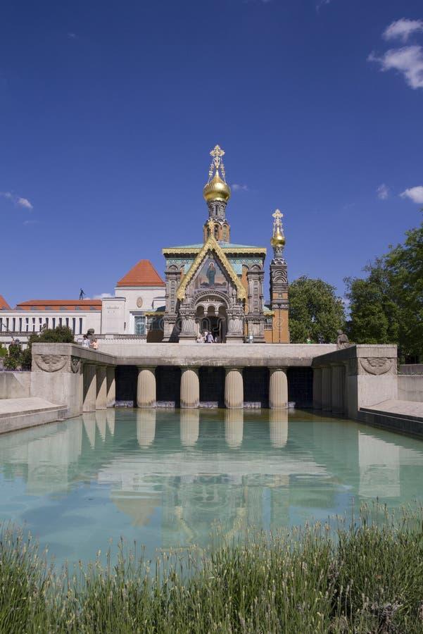 Capela do russo em Mathildenhöh fotografia de stock royalty free