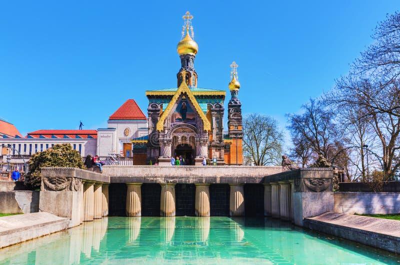 Capela do russo no Mathildenhoehe em Darmstadt, Alemanha imagens de stock royalty free