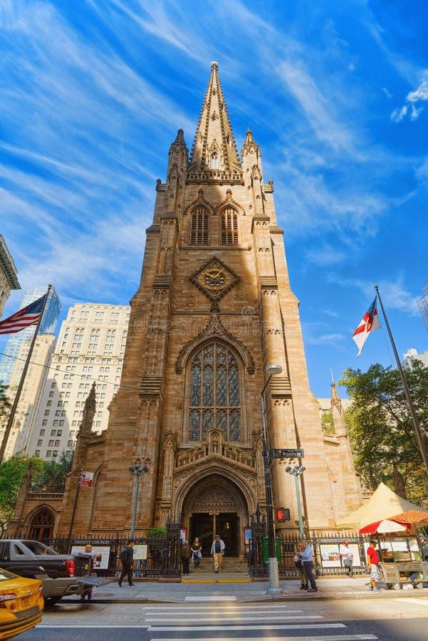Capela do ` s de St Paul da igreja de trindade Wall Street em Broadway, urb fotografia de stock royalty free