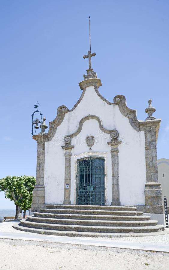 Capela do senhor do calvario, gouveia. View of the chapel of the lord of the calvary in Gouveia, Portugal stock photos