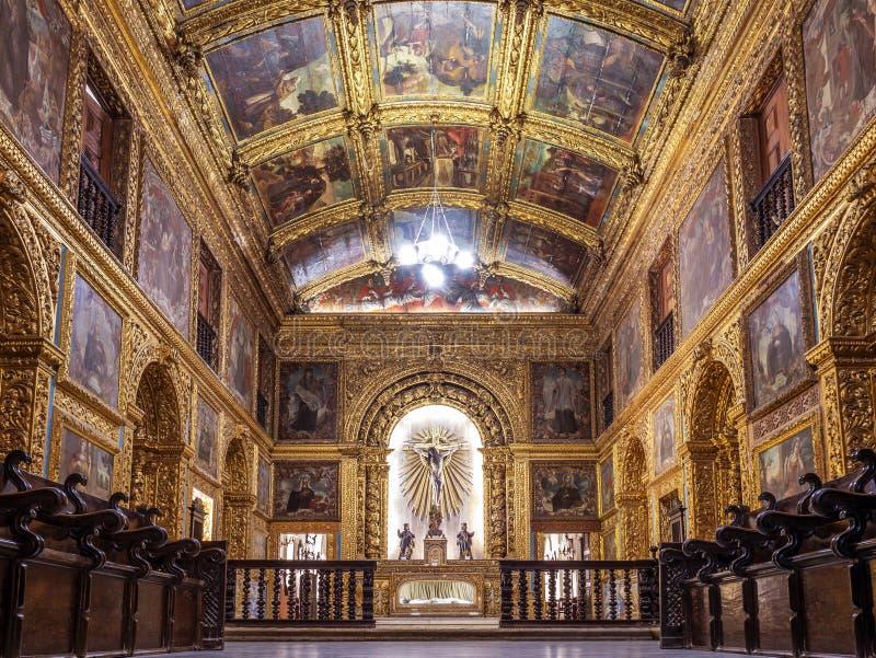 Capela Dourada Chruch. The rich architecture of Capela Dourada in the city of Recife in PE, Brazil stock photography