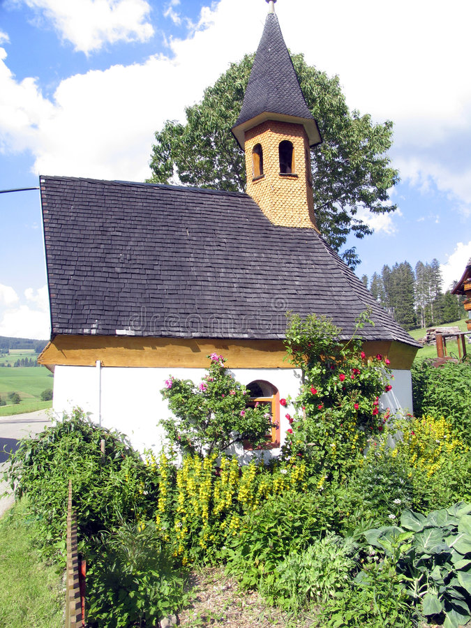 Capela e jardim vegetal fotografia de stock