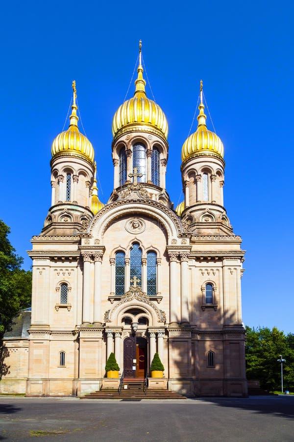 Capela ortodoxo Wiesbaden do russo, fotografia de stock