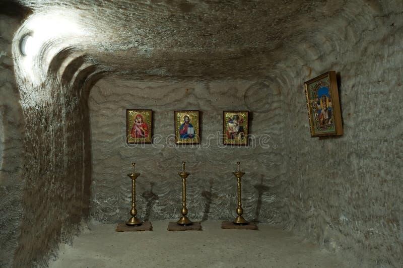 A capela subterrânea pequena na mina de sal de Soledar, Donbas, Ucrânia fotografia de stock royalty free