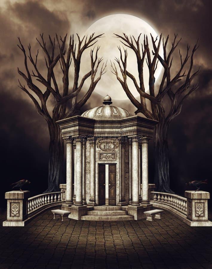 Capela velha com árvores ilustração do vetor