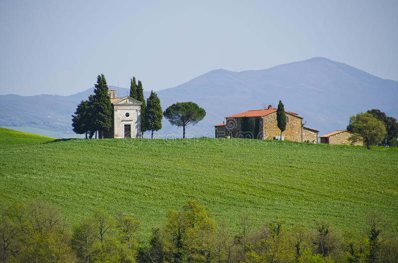 Capella di Vitaleta in Val d`Orcia, Italy royalty free stock photography