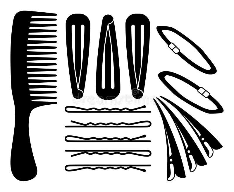 Capelli in bianco e nero che disegnano l'insieme della siluetta illustrazione vettoriale