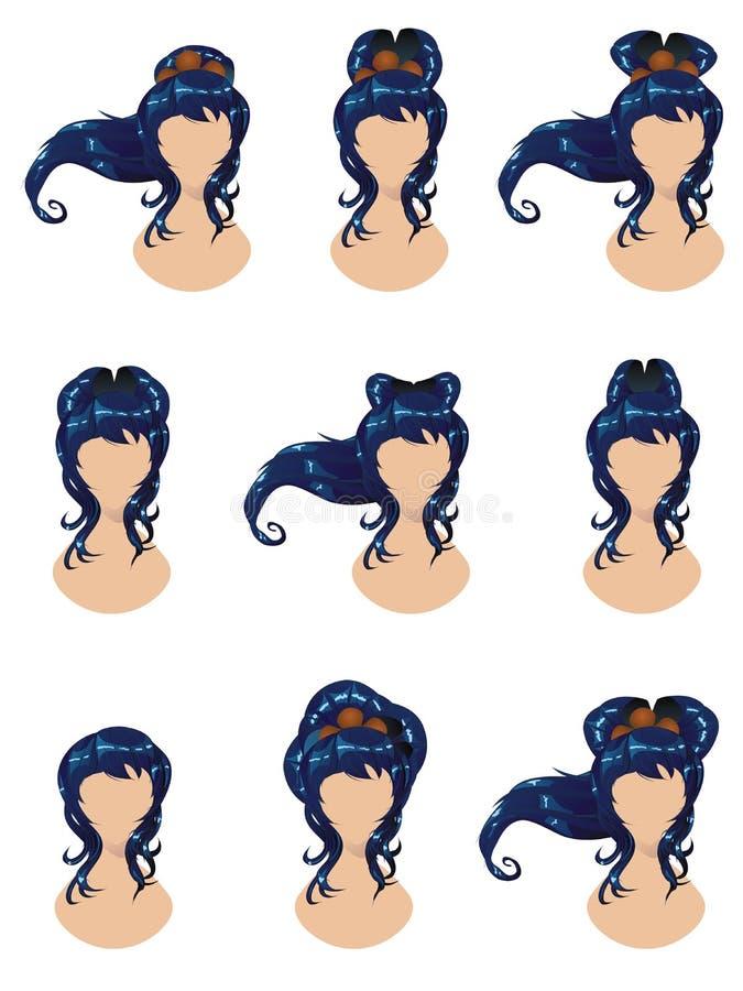 Capelli blu negli stili differenti illustrazione vettoriale