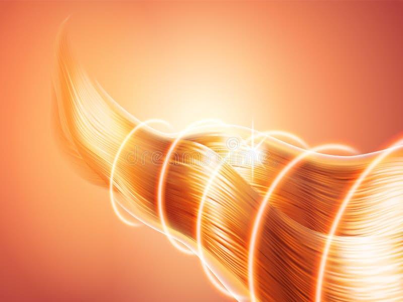 Capelli con effetto brillante Riccioli scintillanti luminosi Onde leggere radiali Protezione o barriera Tema di cura o di capelli illustrazione vettoriale