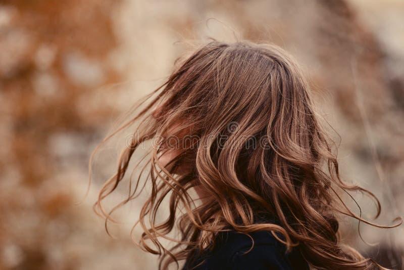 Capelli del ` s delle donne nel vento fotografia stock