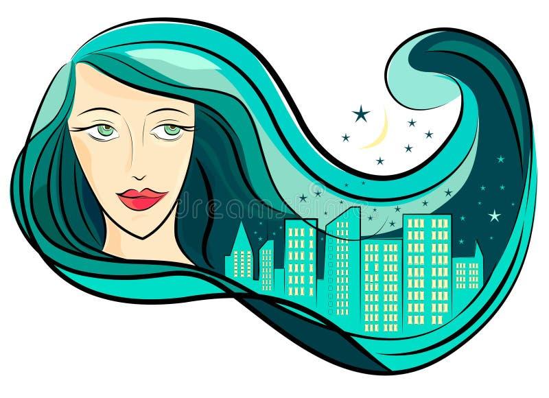 Capelli e città della ragazza royalty illustrazione gratis