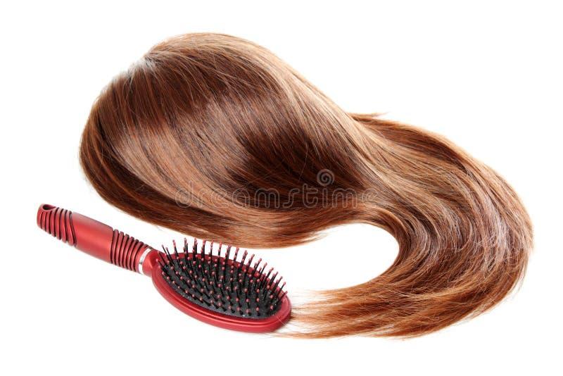 Capelli e hairbrush con il dandruff   Isolato immagini stock