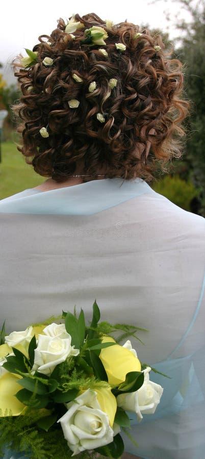 Capelli e mazzo delle spose fotografie stock libere da diritti