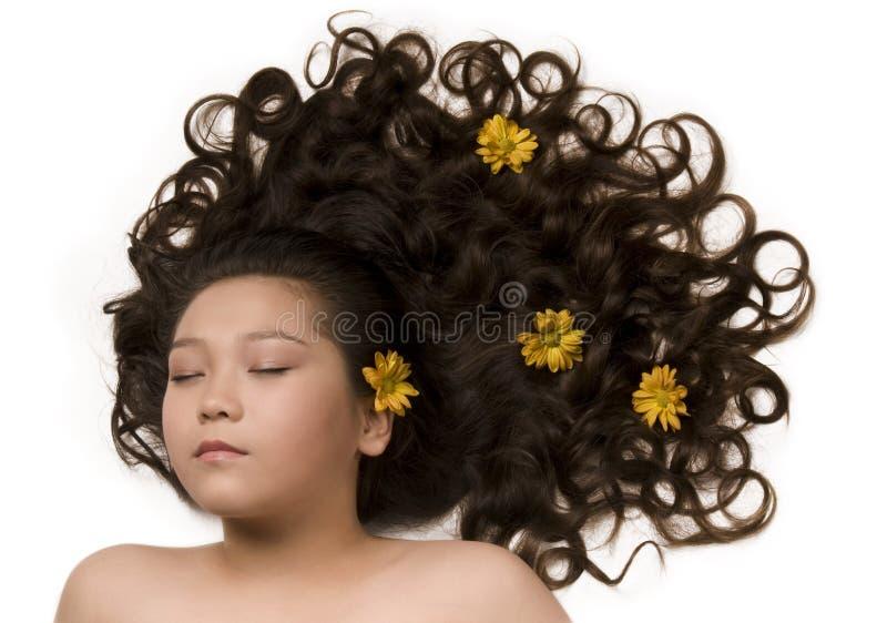 capelli lungamente immagine stock