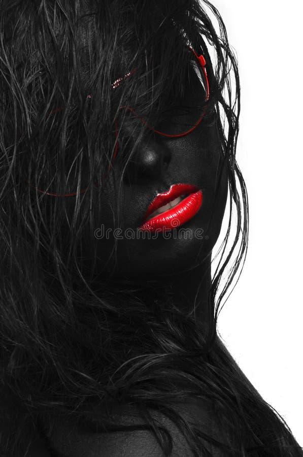 Capelli neri del ritratto fotografia stock libera da diritti