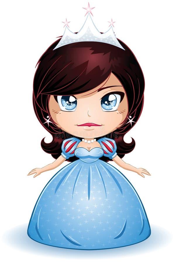 Capelli neri di principessa With in vestito blu royalty illustrazione gratis