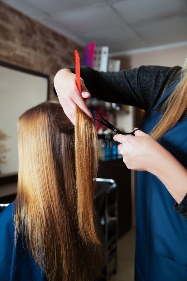 Capelli professionali di taglio del parrucchiere immagini stock