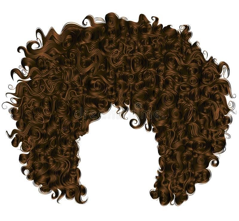 Capelli ricci d'avanguardia di marrone scuro 3d realistico capelli sferici illustrazione vettoriale