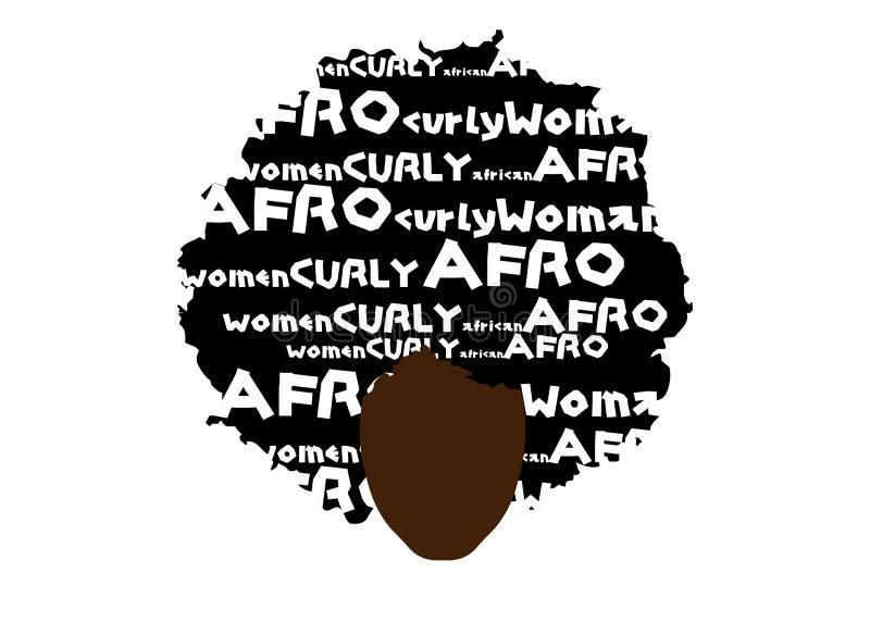 Capelli ricci di afro, donna africana del ritratto, fronte femminile della pelle scura con l'afro tradizionale etnico dei capelli illustrazione di stock