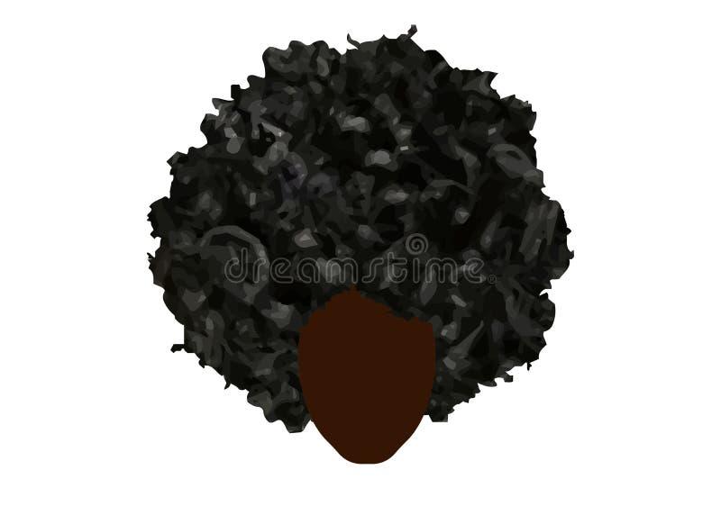 Capelli ricci di afro, donne africane del ritratto, fronte femminile della pelle scura con l'afro dei capelli ricci, concetto tra illustrazione di stock