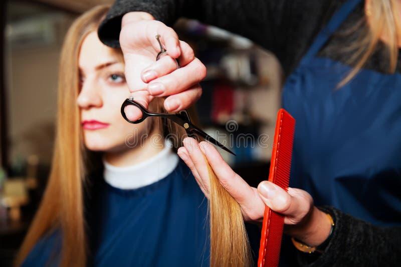 Capelli svegli del parrucchiere alla giovane donna immagine stock