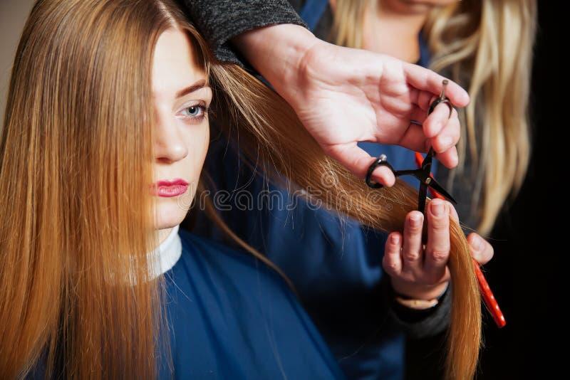 Capelli svegli del parrucchiere alla giovane donna immagine stock libera da diritti